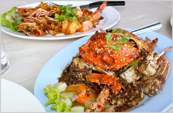 Curried Crab and Stir Fried Shrimp