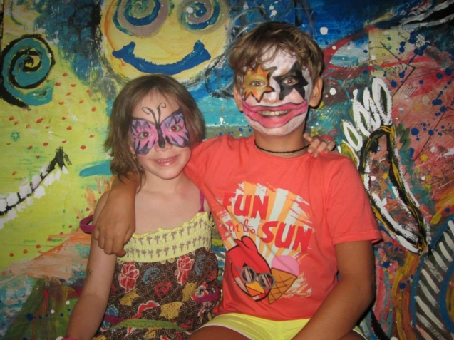 Two kids with painted faces
