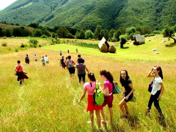 Walking through fields in Romania