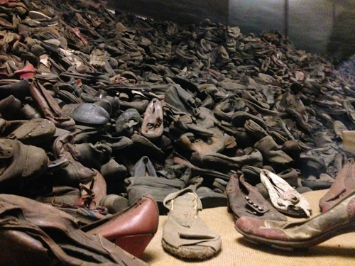 A pile of shoes left by victims as they undressed before being gassed.