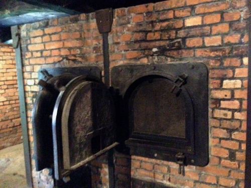 One of the few remaining cremation ovens at Auschwitz where the victims bodies were burned.