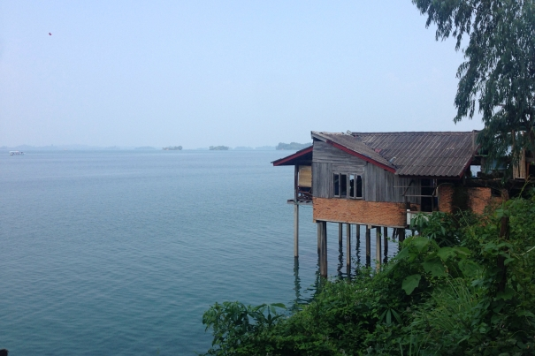 Hut on stilts over Nam Ngum lake