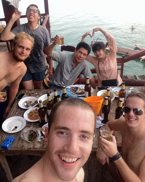 Us with our couchsurfing hosts and new friends at Nam Ngum lake